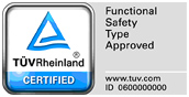 TÜV test mark 'Functional Safety Type Approved'